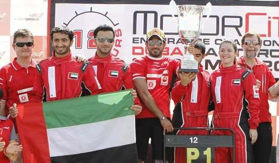 Fabienne Lanz with Dubai Falcon Team secures first place in Motorcity 12hrs endurance kart race